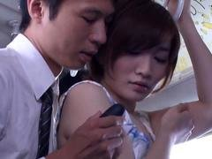 Japanese babe gets her massive tits fondled in a BUS