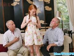 Redhead teen fucked by elderly mans cock