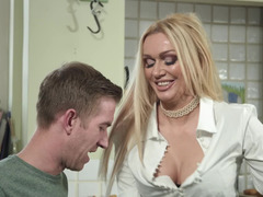 Stepmom in stockings bends over for his huge cock