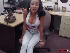 Busty latina pawns her phones and fucked by pawn keeper