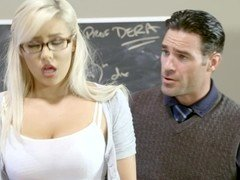 A blonde that loves getting naked is fucked in the classroom hard