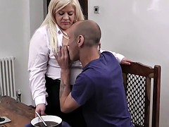 plump blonde in stockings rides his boss