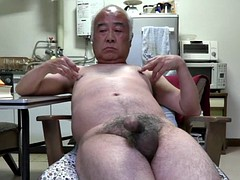 Japanese old man penis twitch to touch the nipples