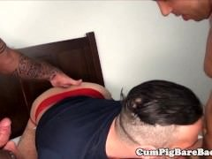 DILF barebacking in raw fourway before rimjob