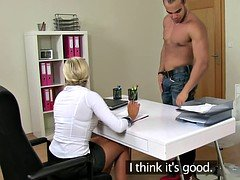 Euro female casting agent jizzed in mouth