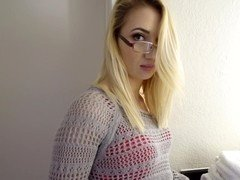 A nerdy girlfriend with glasses opens up her legs to get fucked