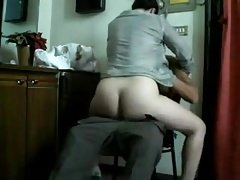 White wife ride black guy on a chair