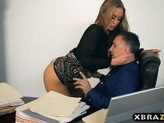 New secretary blows and fucks her boss on her first day