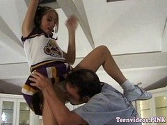 Teen amateur cheerleader pussylicked by coach