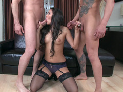 Two boners bring satisfaction to brave brunette whore