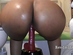 HornyLily riding her dildo with big ass in the shower