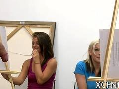 College gals in art class have hot fun with nude art models