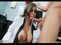 Busty Brunette Doctor gives blowjob  swallows patient's fuck pole for...