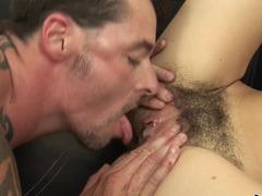 A hairy mature woman is getting her cunt penetrated deeply