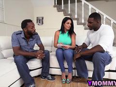 A stunning milf with big angelic pair of tits is getting double penetrated by two black super studs on the couch