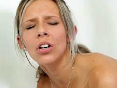 A blonde with natural boobs is getting examined by a doctor