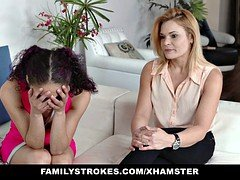 FamilyStrokes - Virgin Teen Learns To Suck Cock From Mom