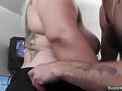 Fucking busty blonde woman at work