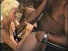 Ash-Blonde mature granny in underwear likes deep throating on a huge ripped ebony hard-on