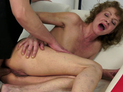 A hairy granny that loves young cock is getting fucked hard