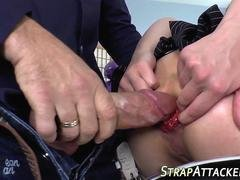 Teen booty strapon fucked