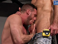 muscle stud colleagues get rough sex in a club