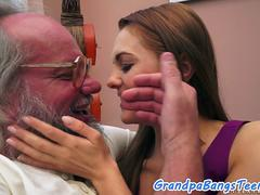 A kinky lavish doll wants to blow and ride on that strapping tool of a grandpa