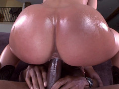 Big ass brunette is removing her panties so she could be pounded