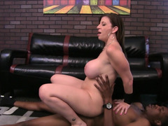 A black dude is pushing his hard white dick inside a brunette