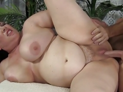 Slightly fat Soccer mom Rubee fucked and furthermore eats cum