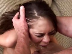 Deepthroat and moreover gagging with breasty brunette