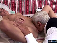 Teen Dia has a horny grandpa suck her tits and eat her pussy