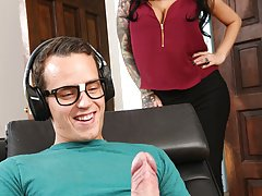 FILF - Stepmom Lily Lane catches son jerking on her photos