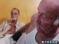 Latina fucked by grandpa while watched by old men