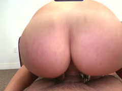 Hot young woman is getting her pussy lips stretched in the office