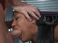 A gorgeous Asian woman opens up her mouth and she gets cumshot