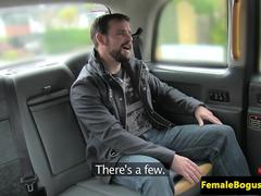Bigtitted british cabbie cockrides and tugs