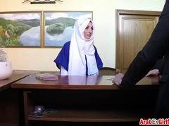 Arab cutie with hot natural tits wears hijab and gets pussy smashed