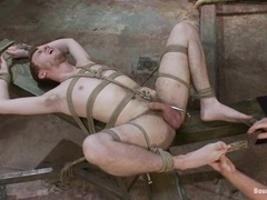 Lewd fag Ethan Storm gets bound, tortured and banged by Scott Tanner