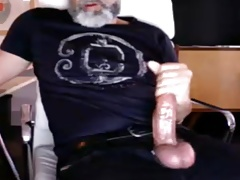 mature dad stroking thick cock