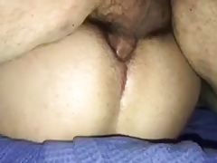 Creampie a greek ass while cuckold is whatching