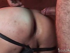 Old gay master fucks a hogtied boy from both ends