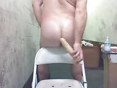 JoeyD doing DP inflatable and 9 inch anal toys