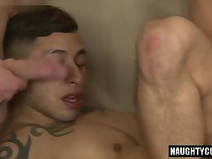 Latin gays threesome and cumshot