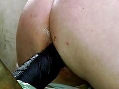 JoeyD black dildo up close butt wiggle