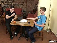 Oral exchange before gay cock riding