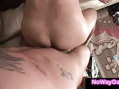 Straight guy gets first time anal from roommate