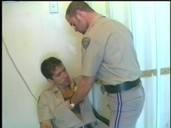 Two cops make out and make doggy style gay love at their work place
