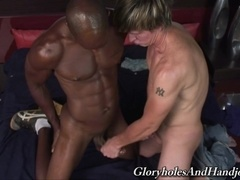 Blonde queer Jared Scott enjoys playing with a black stud's boner