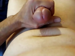 Shooting cum all over belly